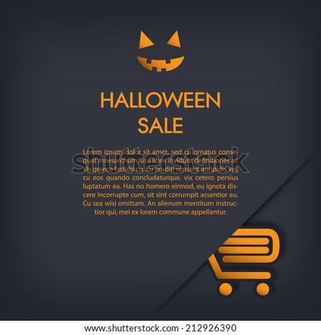 Halloween sale poster with shopping cart. Eps10 vector illustration - stock vector