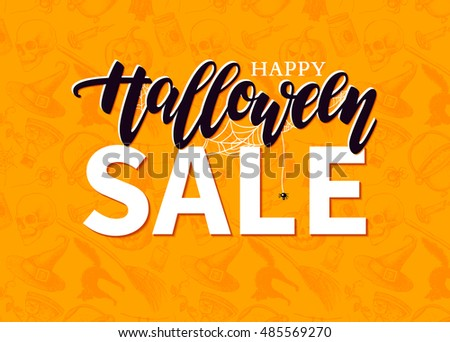 Halloween Sale vector banner with lettering and detailed engraving background. Pumpkin, witch hat, skull, cat hand drawn elements. Great for banner, voucher, offer, coupon, holiday sale.