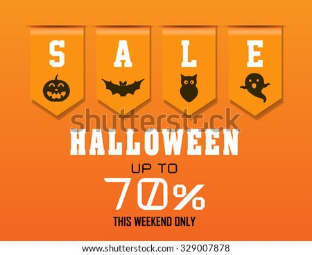 Halloween Sale with sales ribbon up to 70 % - stock vector