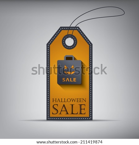 Halloween sales tag eps10 vector illustration with shopping bag. - stock vector