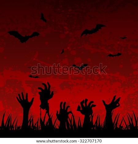 Halloween scary background - stock vector
