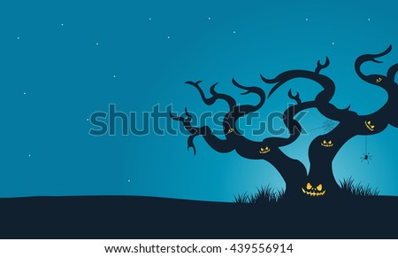 Halloween scary dry tree silhouette with blue backgrounds