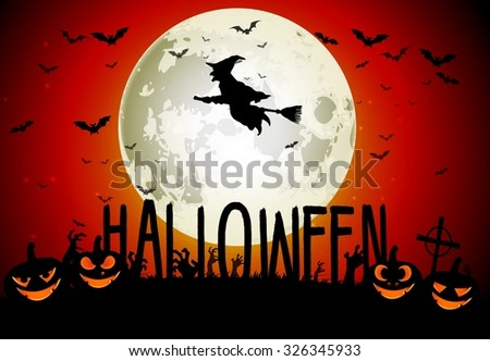 Halloween scary house on full moon background. Vector