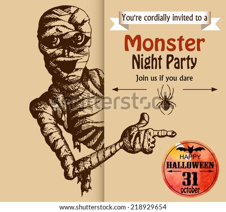 Halloween scary mummy. Typographic poster background. Hand-drawn illustration and watercolor. Vector design sketch - stock vector