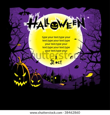 Halloween scary vector invitation or background with spooky grinning pumpkins