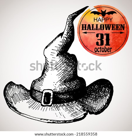 Halloween scary witch hat. Typographic poster background. Hand-drawn illustration and watercolor. Vector design sketch