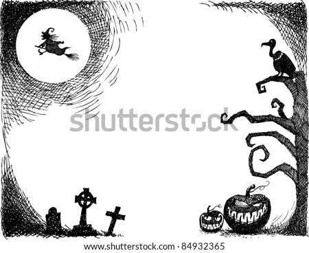 Halloween Scene Hand-drawn Halloween scene. All elements are grouped separately and can be used independently from one another or moved around. Inspectors: See .jpg of my original sketches. - stock vector