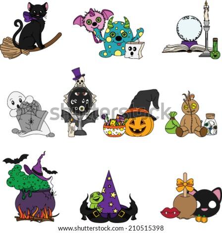 Halloween Scenes - stock vector