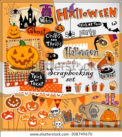 Halloween scrapbook elements in vector format - stock vector