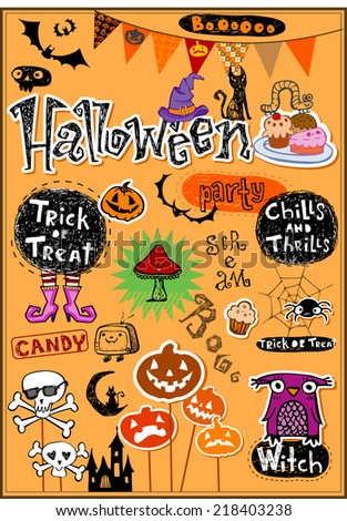 Halloween scrapbook elements. Vector illustration.  - stock vector