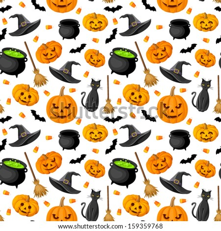 Halloween seamless background. Vector illustration.  - stock vector