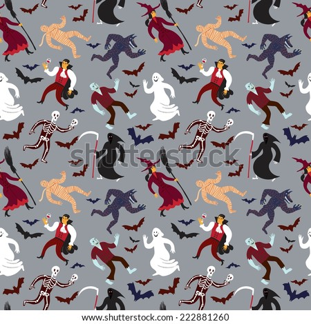 Halloween seamless background with funny cartoon monsters. Editable vector format. - stock vector