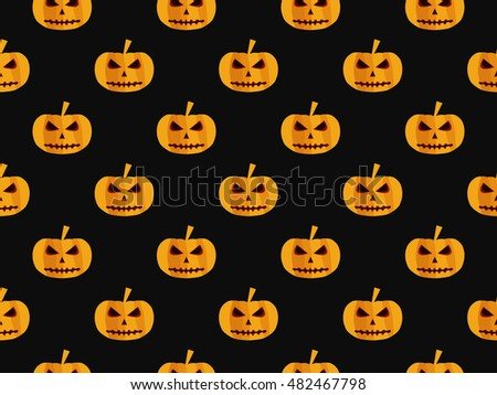 Halloween seamless background with pumpkin. For wallpaper, bed linen, tiles, fabrics, backgrounds. Vector illustration.