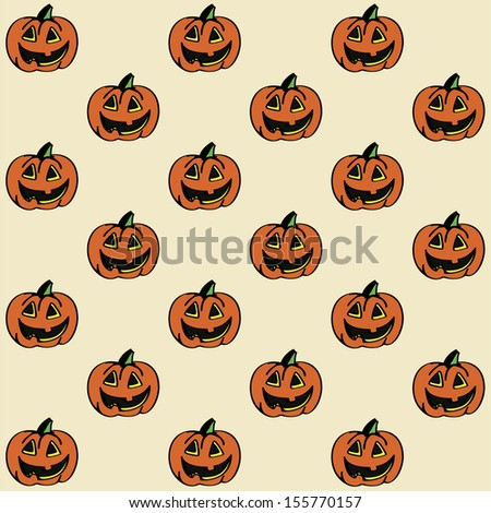 Halloween seamless background with pumpkin, vector illustration