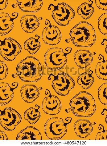 Halloween seamless background with pumpkin. Vector Retro pattern.