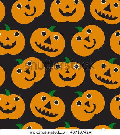 Halloween seamless funny patter with orange halloween pumpkins carved faces silhouettes. Can be used for scrapbook digital paper, textile print, page fill. Vector illustration. Cartoon style.