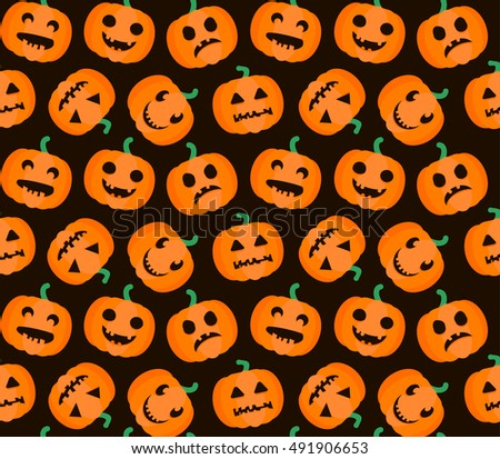 Halloween Seamless Pattern. Background with pumpkin. Vector illustration.