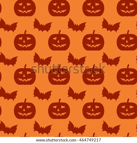 Halloween seamless pattern. Background with silhouettes of bats and pumpkins.