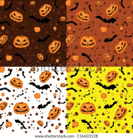 Halloween seamless pattern. four options - stock vector