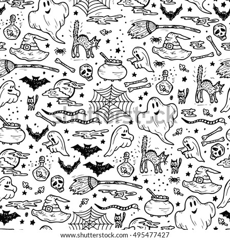 Halloween Seamless pattern. Hand Drawn Doodle various halloween night holiday elements