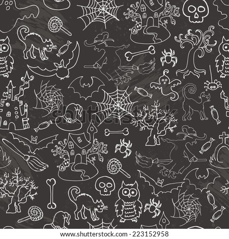 Halloween seamless pattern sketch doodle. Hand draw vector illustration
