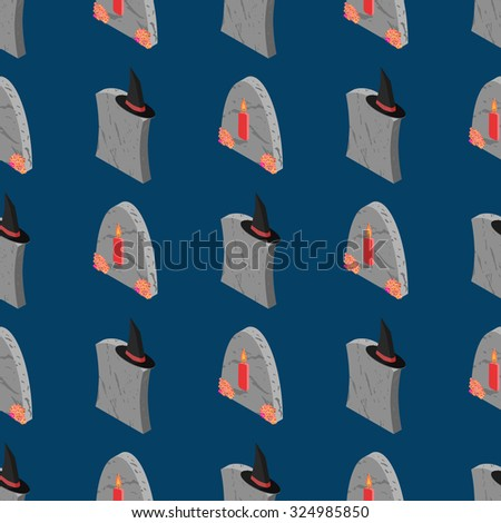 Halloween seamless pattern. Tombstone, candle and witch`s hat background. Isometric tombstones texture for printing, design, web, packing - stock vector