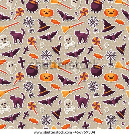 Halloween Seamless Pattern with Orange Pumpkin, Spider Web, Witch Hat and Cauldron, Skull and Crossbones. Vector Illustration. Flat Sticker Icons on Polka Dots Background. - stock vector