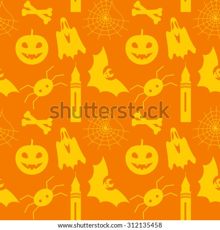 Halloween seamless pattern with pumpkin, bat, ghost, spider and web