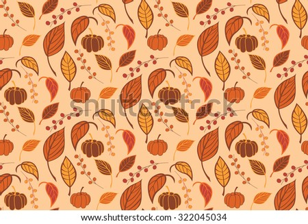 Halloween seamless pattern with pumpkins and leaves, vector illustration - stock vector