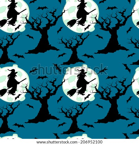 Halloween seamless pattern with witch silhouettes, moon, scary leafless trees and bats.  Cartoon tiling background. - stock vector