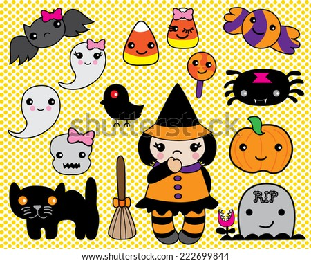 Halloween Set Kawaii Characters  - stock vector