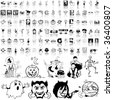 Halloween set of black sketch. Part 6. Isolated groups and layers. - stock vector