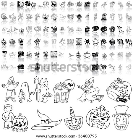 Halloween set of black sketch. Part 2. Isolated groups and layers.
