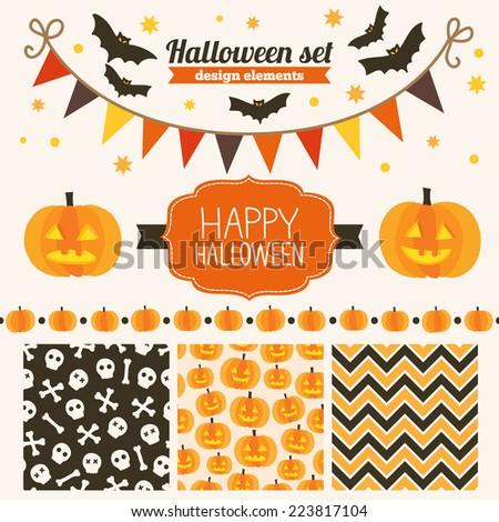 Halloween set of design elements - seamless patterns, label, stars, garland, bats, pumpkins, header, ribbon  - stock vector