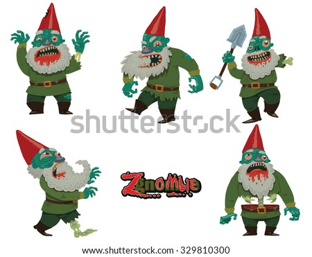 Halloween set of garden gnomes which became zombies, 5 characters, vector - stock vector