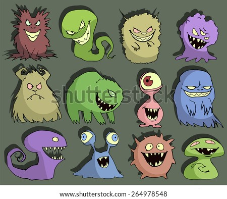 Halloween set of illustrations of different isolated colorful monsters, bacteria, germs, aliens, devils and ghosts - stock vector
