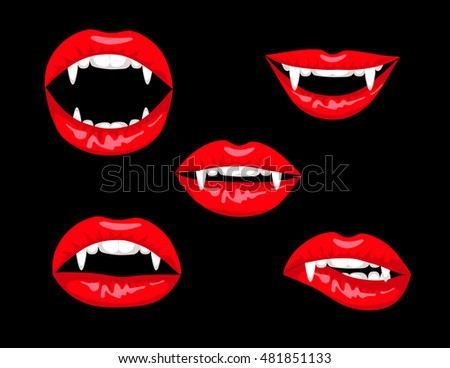 Halloween Set Red Vampire Lips On Stock Vector 481851133 ...