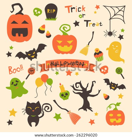 Halloween set of vectors with ribbon banner, pumpkins, bats, spider webs,black cat, ghosts, skulls, cupcakes, done in simple cartoon style with orange, dark brown, green and yellow color scheme. - stock vector