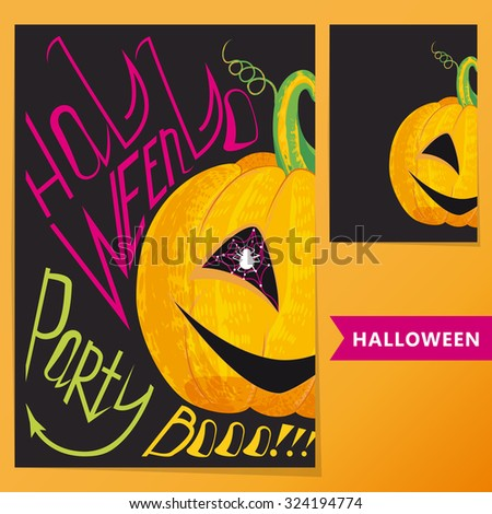 Halloween set.  Poster with pumpkin and inscription Halloween party Boo!!! for your artworks.  - stock vector