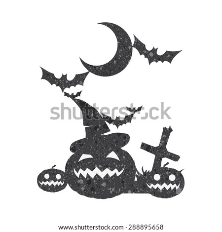 halloween set pumpkin moon bat and witch hat vector with texture. - stock vector