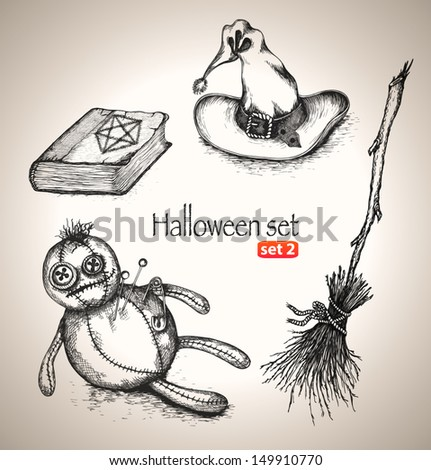 Halloween set. Sketch elements for spooky holiday. Hand-drawn vector illustration. Set 2 - stock vector