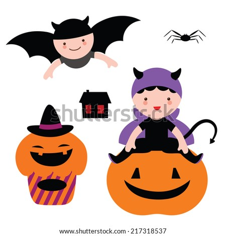 Halloween set with cute baby in costumes