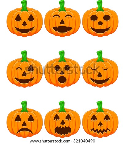 Halloween set with pumpkins - stock vector