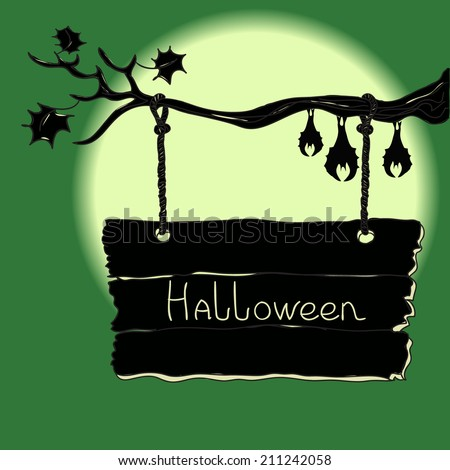 Halloween sign board hanging on a tree branch with sleeping bats. Hand drawn vector illustration. - stock vector