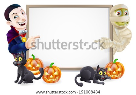 Halloween sign or banner with orange Halloween pumpkins and black witches cats, witch's broomstick and cartoon Dracula vampire and mummy characters  - stock vector
