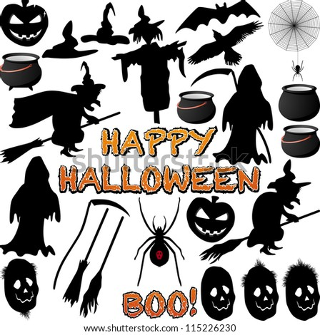 Halloween Silhouette isolated on white. Vector - stock vector