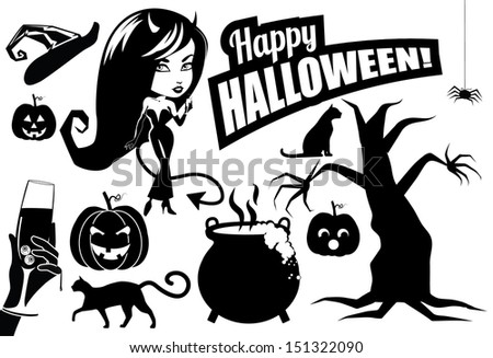 Halloween silhouettes collection. EPS 10 vector, grouped for easy editing. No open shapes or paths. - stock vector