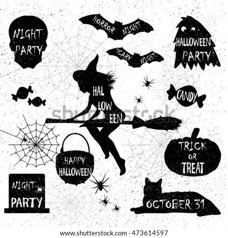 Halloween Silhouettes.Halloween Witch,Halloween pumpkin,Halloween black cat. Halloween elements. Halloween party. Halloween spider sticker.Trick or treat.Candy.Halloween night party.Halloween monster.