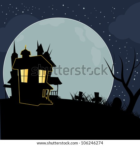 halloween silhouettes mansion with full moon background