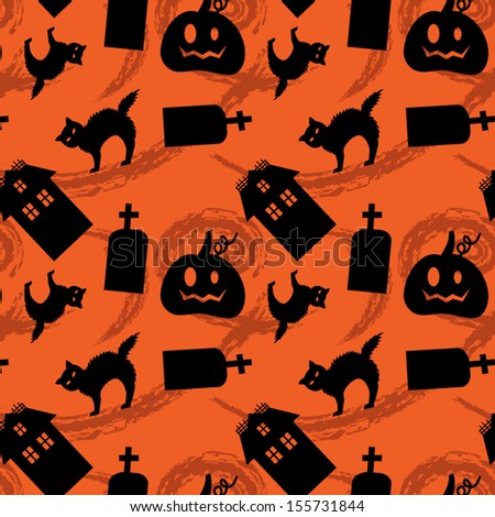 Halloween Silhouettes seamless pattern. EPS 10 - stock vector
